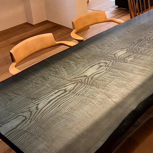 タモ 藍染塗装テーブル