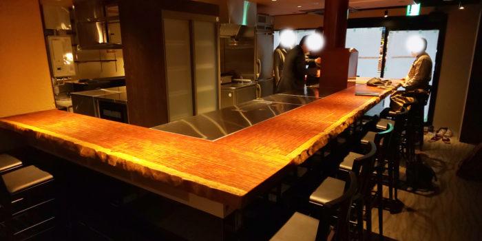 ブビンガ L字カウンター テーブル
